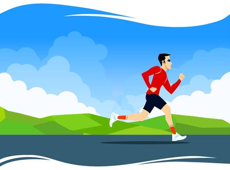 Vector illustration for banner design. Jogging sport illustration in bright colors. Cloudy sky and greenery