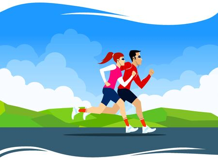 Vector Illustration with running couple. Jogging sport illustration in bright colors. Cloudy sky and greenery Illusztráció