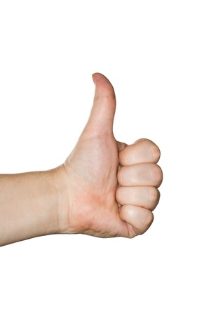 Isolated thumbs up male hand on white
