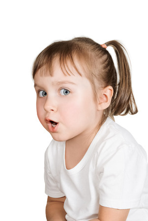 cute little girl very surprised against white background