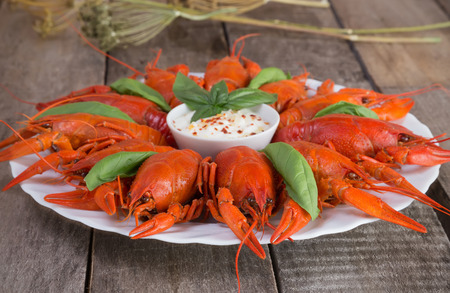 Plate with red boiled crawfish on a wooden table in rustic style, close-up, selective focus on one crawfish