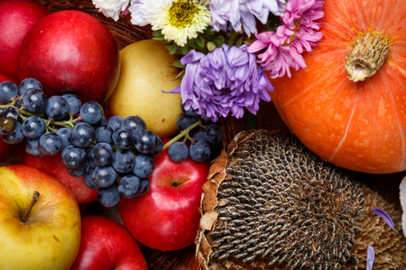 Group of natural healthy organic autumnal fruits and vegetables Stock Photo