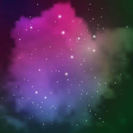 Vue de l'espace avec des étoiles et des nuages ??colorés de gaz et de poussière
