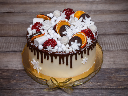 Chocolate cake with a winter style decoration