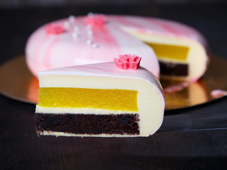 Mousse cake. Chocolate biscuit, pineapple confit and white chocolate mousse with pistachio