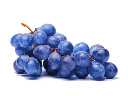 Blue grape. Bunch of fresh berries isolated on white background Stock Photo