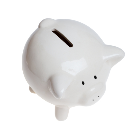 White ceramic piggy bank isolated on white. Top angle view.