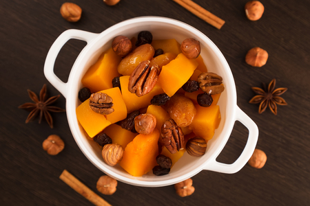 Braised Pumpkin with Honey, Hazelnuts and Pecans. Healthy vegetarian food