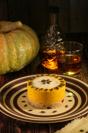 Pumpkin Raw Dessert. Raw cakes are cakes and pastries that are not exposed to heat and chemical processing. This is an excellent substitute for sweets and made from only natural products. Banco de Imagens