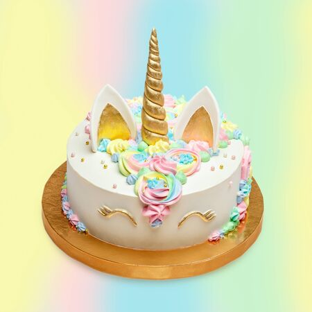 Funny cake for children styling as a unicorn
