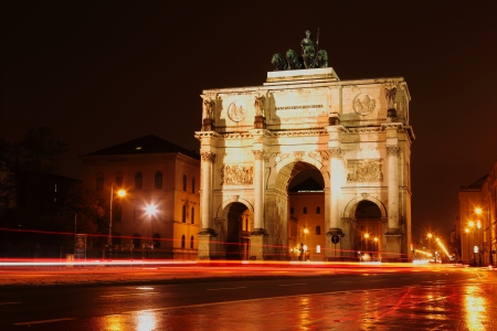 Siegestor Munich at night photo