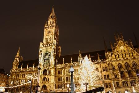 Vánoční trhy na náměstí Marienplatz v Mnichově Reklamní fotografie