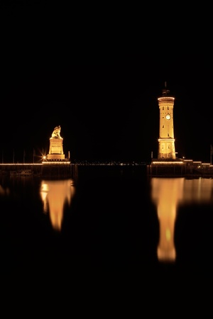 In the port of Lindau at Lake Constance - Germany - at night  Stock Photo - 13457394