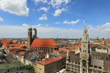 guildhall: Marienplatz in Munich from above - New City Hall and Frauenkirche