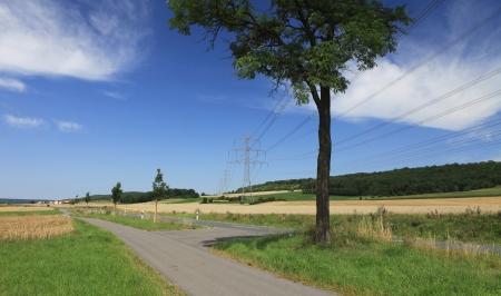 electricity tariff: High voltage under blue skies near Neustadt Aisch   Bavaria