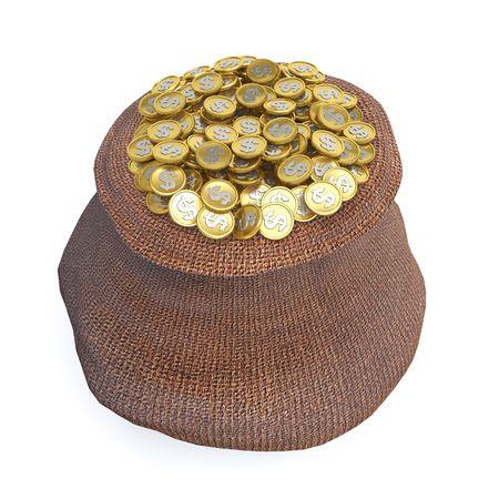 Full bag of golden dollar coins (3d rendering) Stock Photo - 5577763