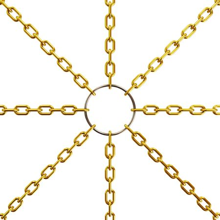 Golden chain on white background (3d rendering)  photo