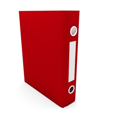 Closed red file folder isolated on white (3d render) photo