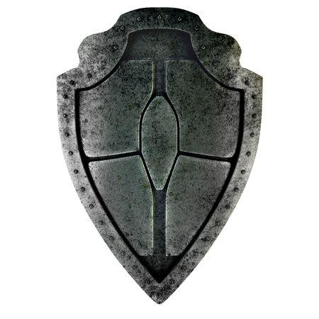 escudo militar: Antiguo escudo oxidado