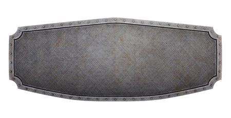 Hard brushed metallic banner (3d render)