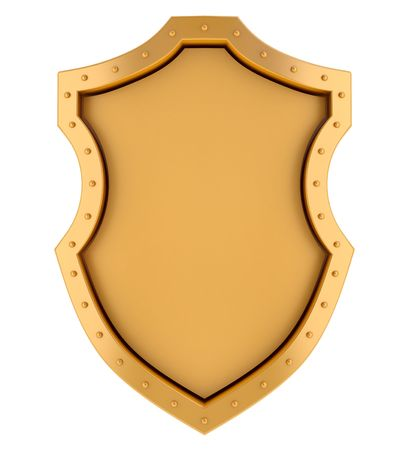 Golden blank banner in medieval shield style