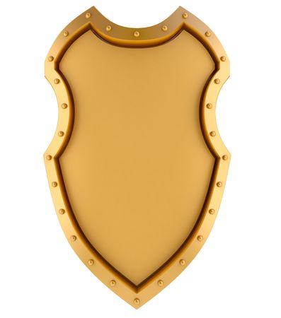 golden shield: Golden blank banner in medieval shield style