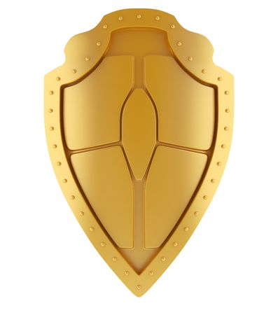 Concept of golden medieval shield