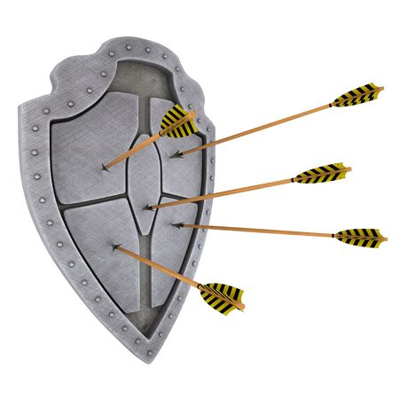 Medieval brushed shield which arrows  photo