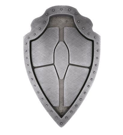 3d shield: Brushed medieval shield Stock Photo