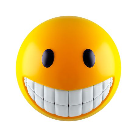 Yellow smiley face (3d render)  photo