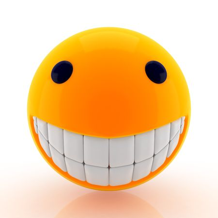 Render emotion 3D. Smiling with teeth