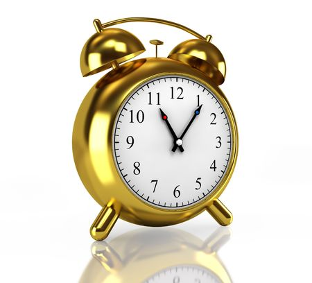 Golden alarm clock Stock Photo - 6059060