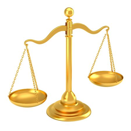 justice balance: Golden scale  Stock Photo