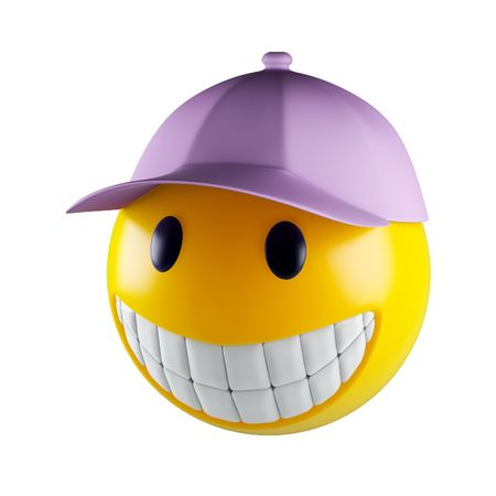 friendliness: Smiley face which baseball cap  Stock Photo