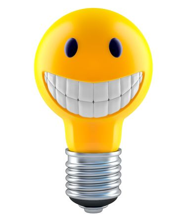 friendliness: Light bulb in smiley face style  Stock Photo