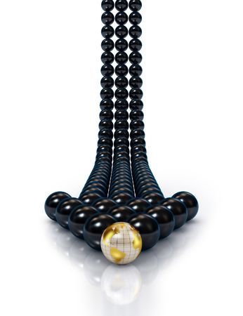 one team: Abstract black spheres arrow Stock Photo