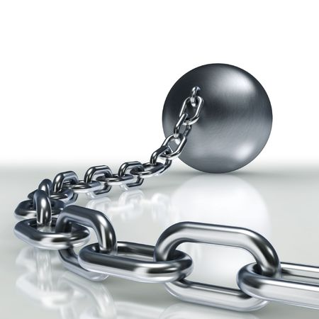 enslave: Ball and massive chain  Stock Photo