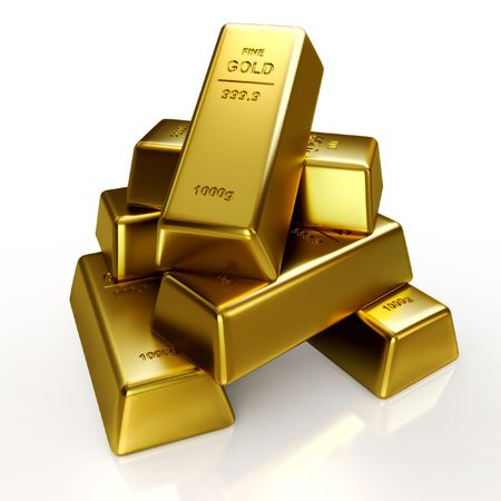 rates: Gold bars Stock Photo