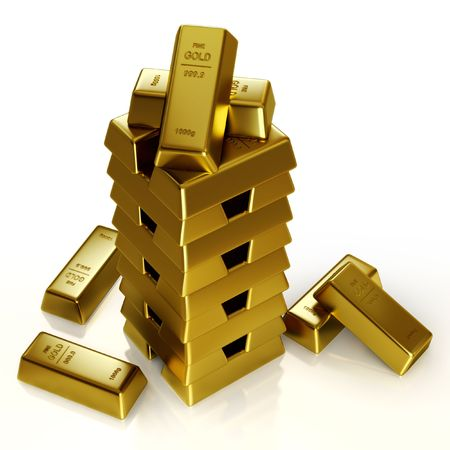 Gold bars tower  Stock Photo