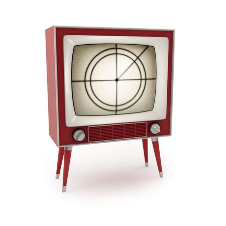 Vintage tv on a white background (3d render)  Stock Photo