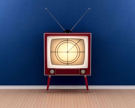 Vintage tv in empty room (3d render)