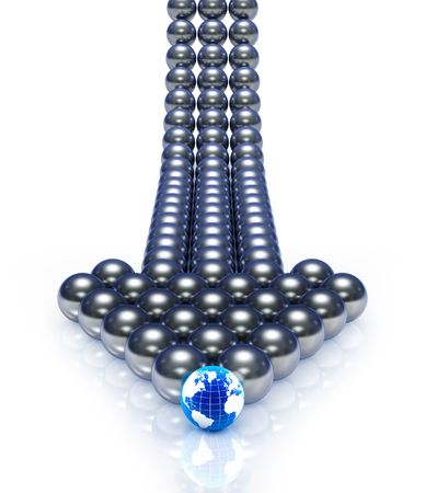 Abstract spheres arrow. (3d render)  photo