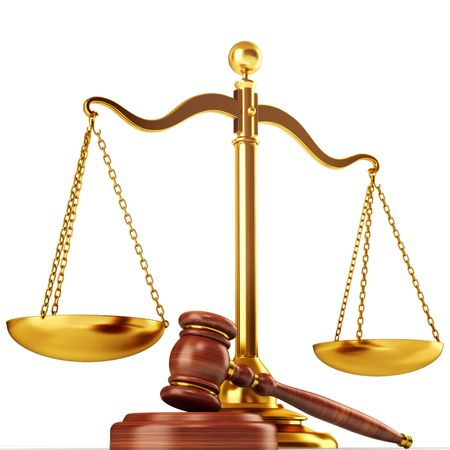giustizia: Illustrazione 3d scala e il martello. Concetto di giustizia