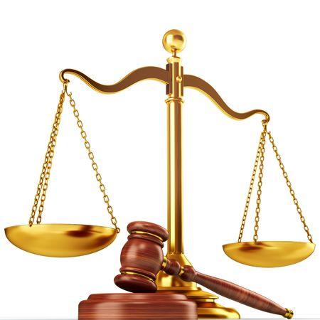 signos de pesos: Ilustración 3d de la escala y el martillo. Concepto de justicia