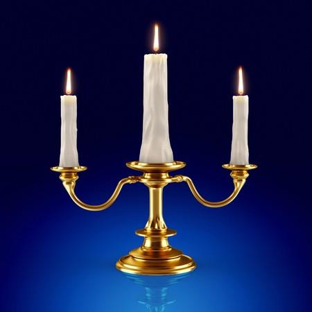 candleholder: Golden candleholder which burning candles (3d render)  Stock Photo