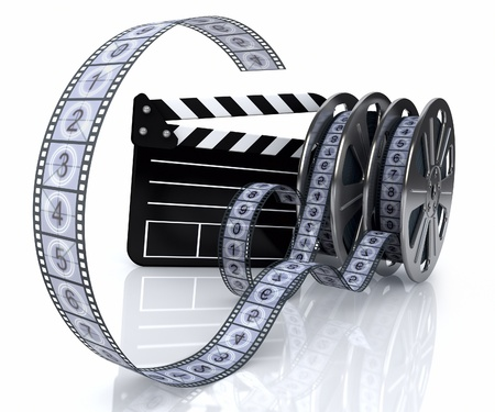 cinema strip: 3d illustration of a film reels and film state on a white background