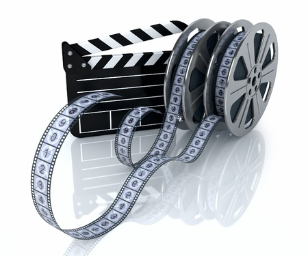 clapperboard: 3d illustration of a film reels and film state on a white background