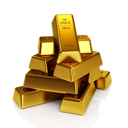 Gold bars 3d concept photo