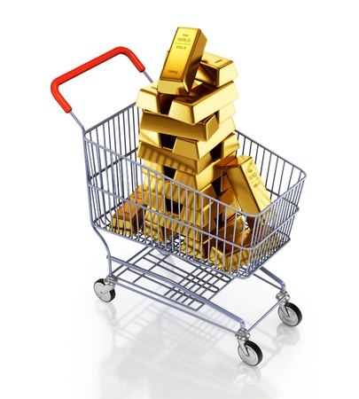 rich people: Gold bars in shopping cart