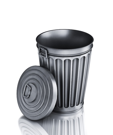 dispose: An empty trash can (3d render)